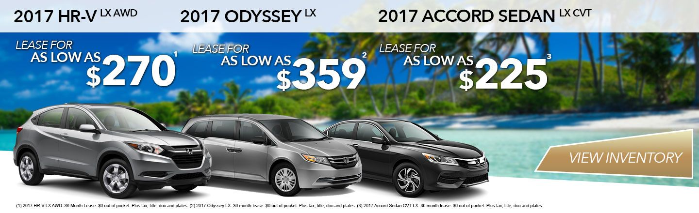 Special lease offers for HR-V, Odyssey, and Accord