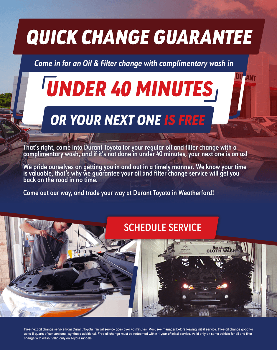 Durant Toyota Oil Change Guarantee