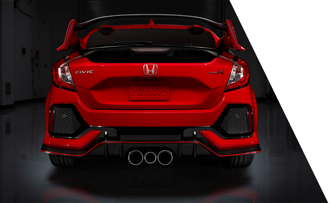Rear Photo of the New 2018 Civic Type R's Triple Exhaust Pipes at DCH Honda of Nanuet