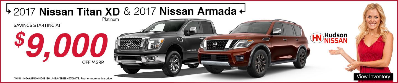 2017 Nissan Titan red Armada copper at Hudson Nissan in North Charleston, SC