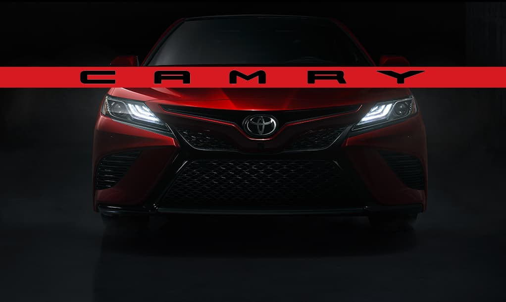 Front shot of red 2018 Toyota Camry at DCH Toyota of Oxnard CA