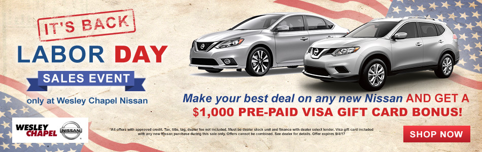 labor day sales event only at wesley chapel nissan