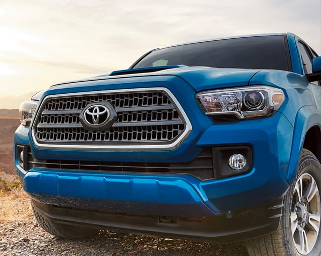 A Blue 2017 Toyota Tacoma at DCH Toyota of Simi Valley