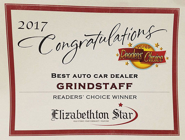 Best Auto Car Dealer Grindstaff Readers' Choice Winner