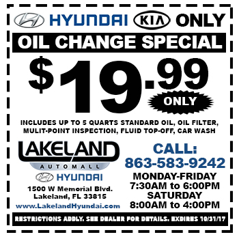 $19.99 Oil Change Special | Lakeland Hyundai