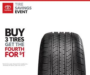 Toyota buy 3 tires get 4th tire for $1 at Amigo Toyota