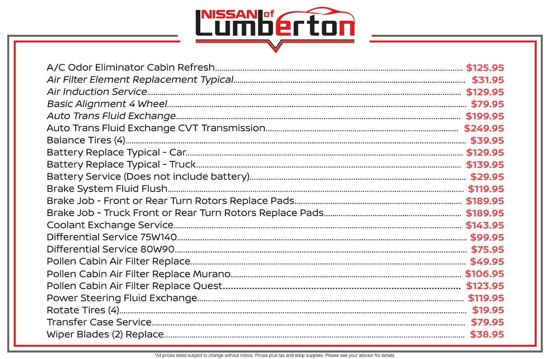 2019 Nissan Rogue Maintenance Schedule Schedule Service | Nissan of Lumberton
