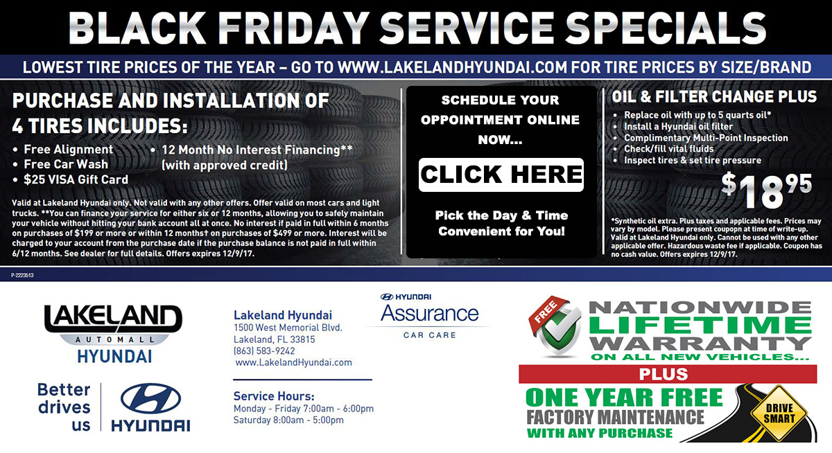 Lakeland Hyundai Black Friday Service Specials