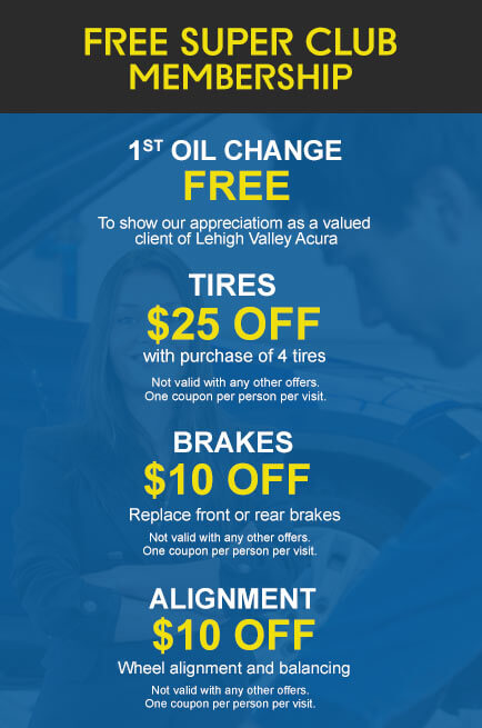 Free super club membership includes discounts on a oil change, tires, brake replacement, and alighment