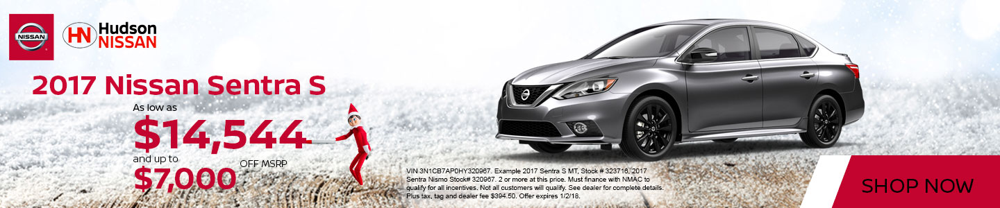 2017 Nissan Sentra S White America's Best Sales Event at Hudson Nissan in North Charleston, SC