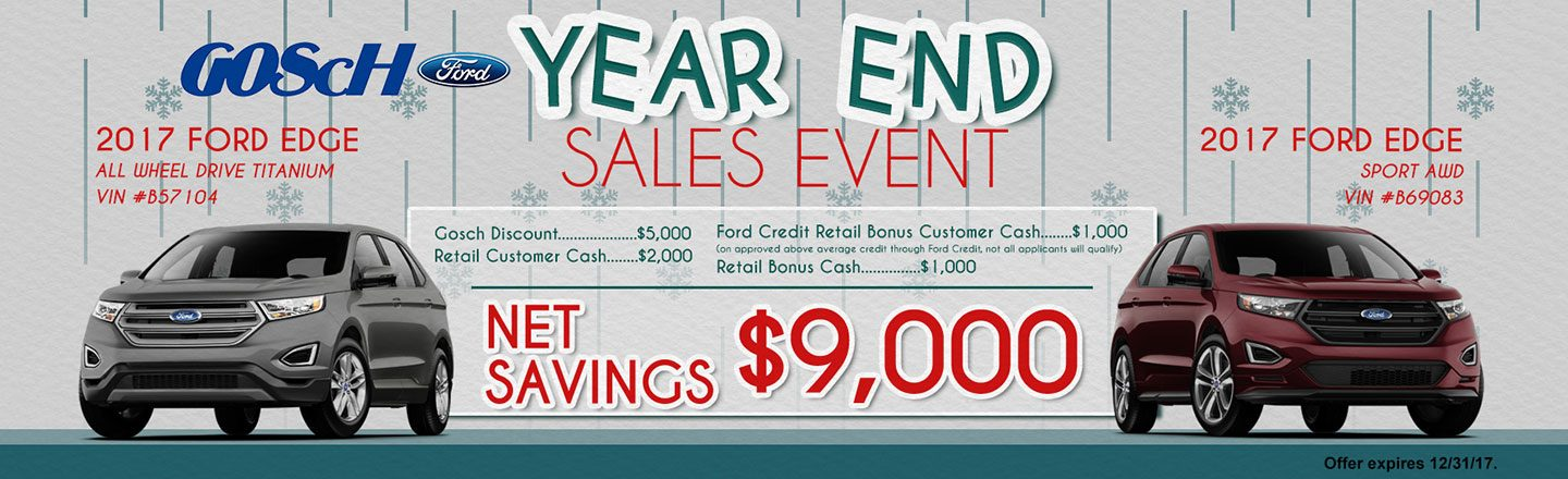 Year End Sales Ford Edge at Gosch Ford