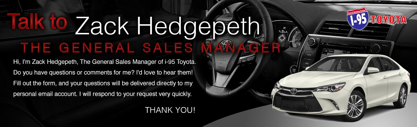 Talk to The General Manager of I-95 Toyota Dealership, Kenny Sims
