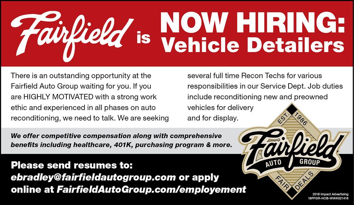 Fairfield dealership autogroup apply Employment jobs