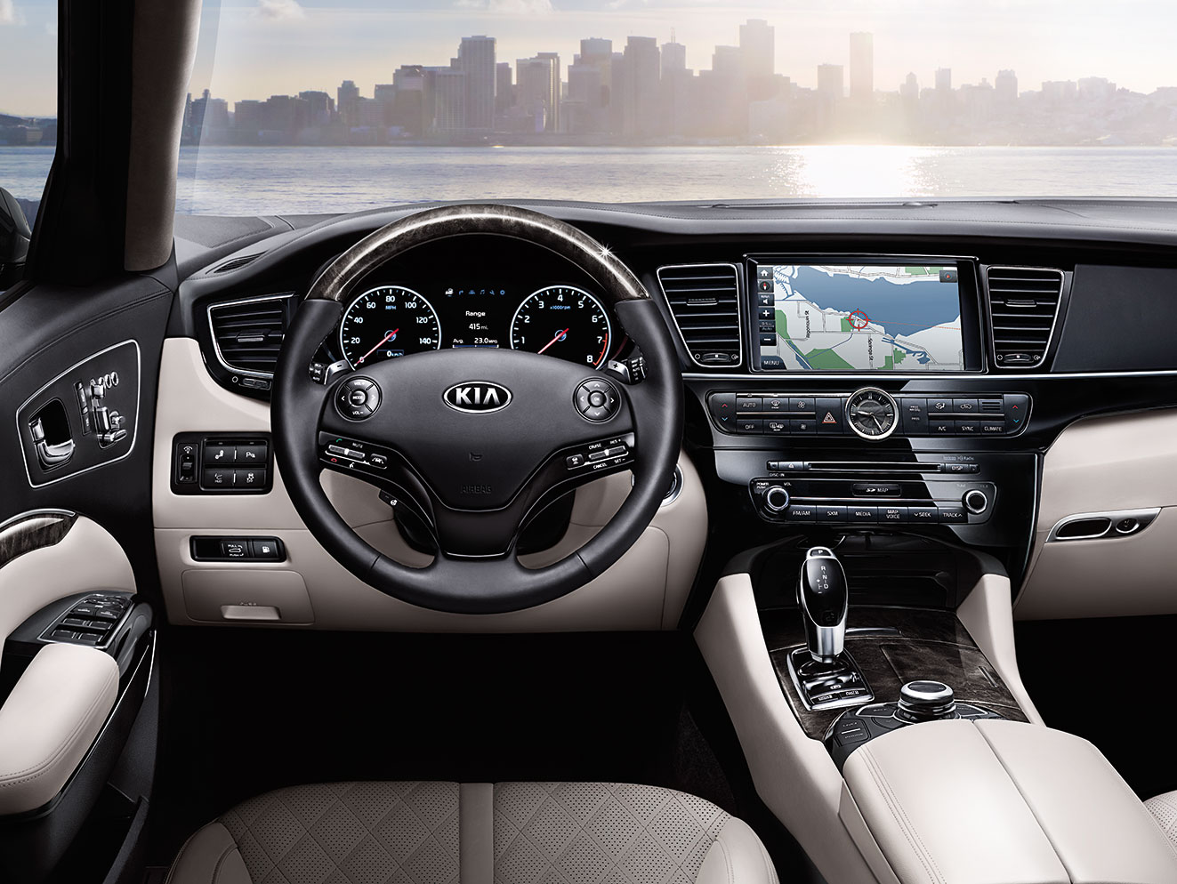 Kia K900 interior looking out at city skyline across a body of water