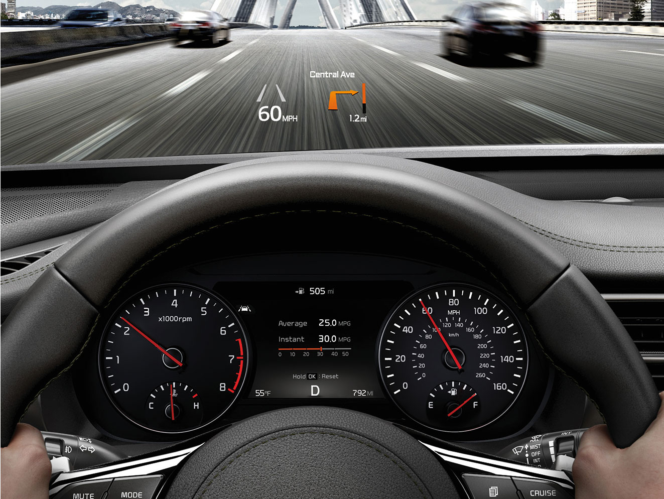 Interior view of Kia Cadenza racing across a bridge with head-up display projected on windshield
