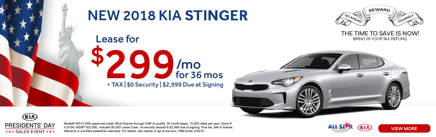 Lease The All New Stylish 2018 Kia Stinger For Only $299 A Month For 36  Months. No Security Deposit Required, And Only $2,999 Is Due At Signing!