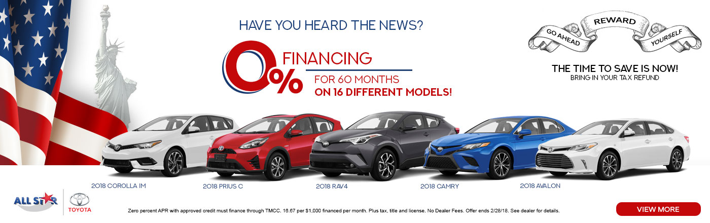We Are Offering 0% Financing For 60 Months On 16 Different Models! From An  Energy Efficient Toyota Prius, To An Adventurous Toyota Rav4!