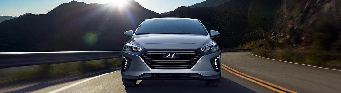 2018 Hyundai Ioniq Hybrid speeding on mountain road