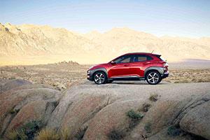 Profile of 2018 Hyundai Kona on desert rocks