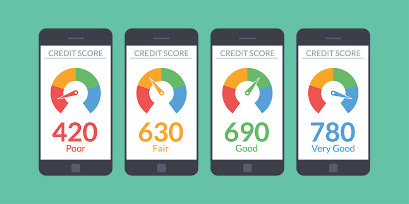 Credit scores displayed on a row of smartphones