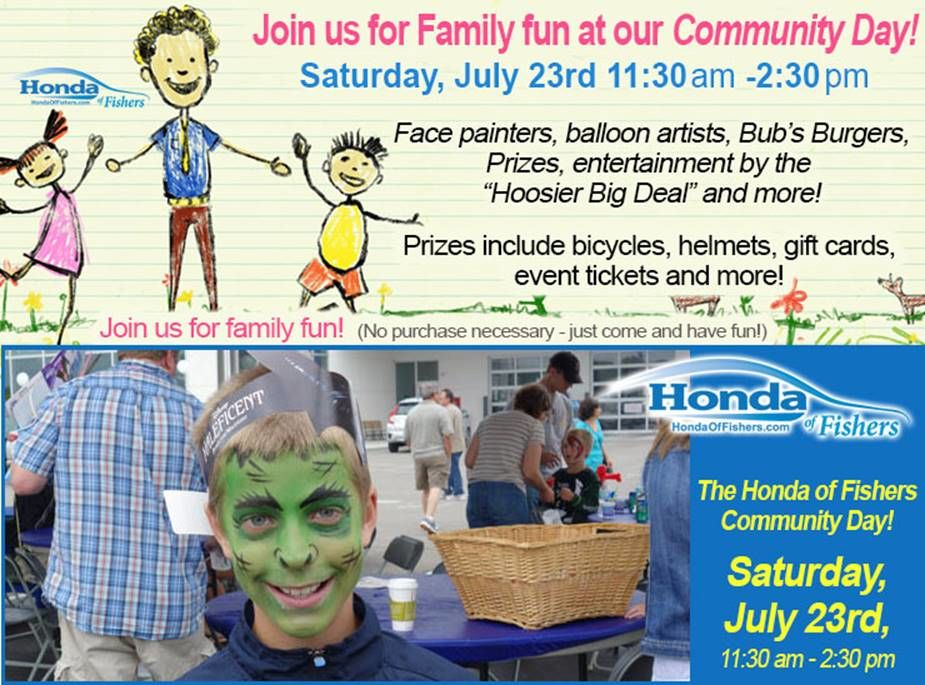 Join us for family fun at our Community Day on July 23rd from 11:30AM-2:30PM! Including in the fun are face painters, balloon artist, Bub's Burgers, Prizes, entertainment by the \