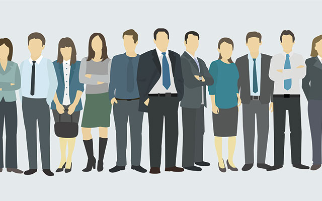 Vector art of a row of sales staff