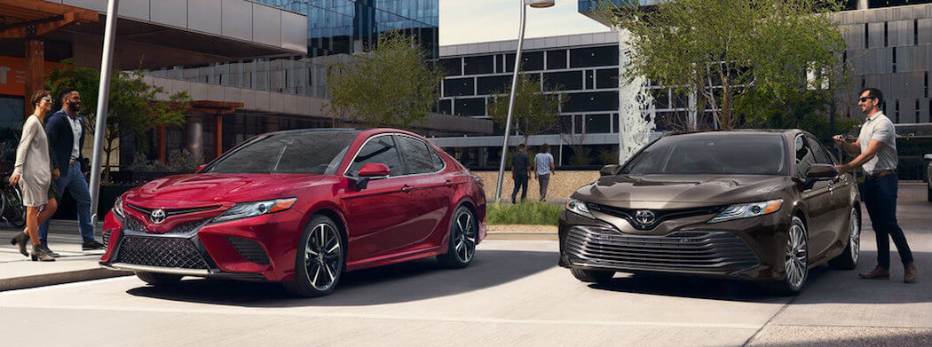 2018 Toyota Camrys - red and grey