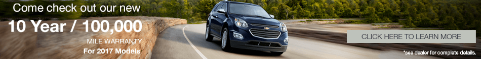 10 Year / 100,000 Mile Warranty on 2017 Models at Plattner Chevy