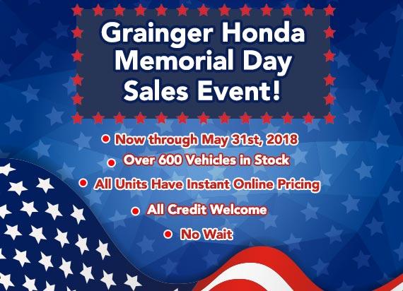Grainger Honda Memorial Day Sales Event