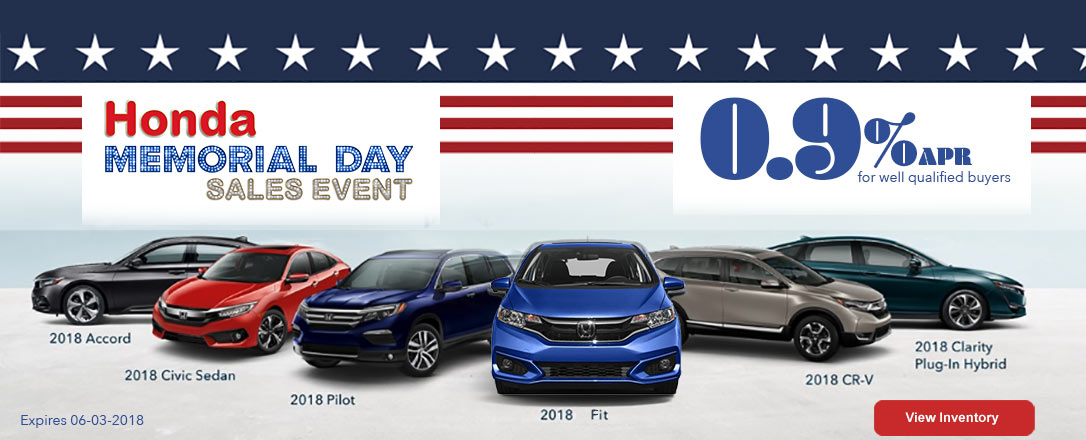 2018 Honda Memorial Day Sales Event - 0.9% APR financing available