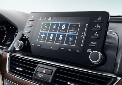 navigation menu with volume control, touch screen