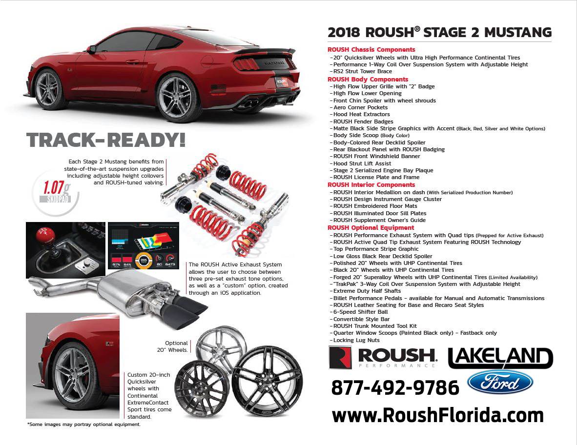 2018 ROUSH® STAGE 2 MUSTANG Performance Specs