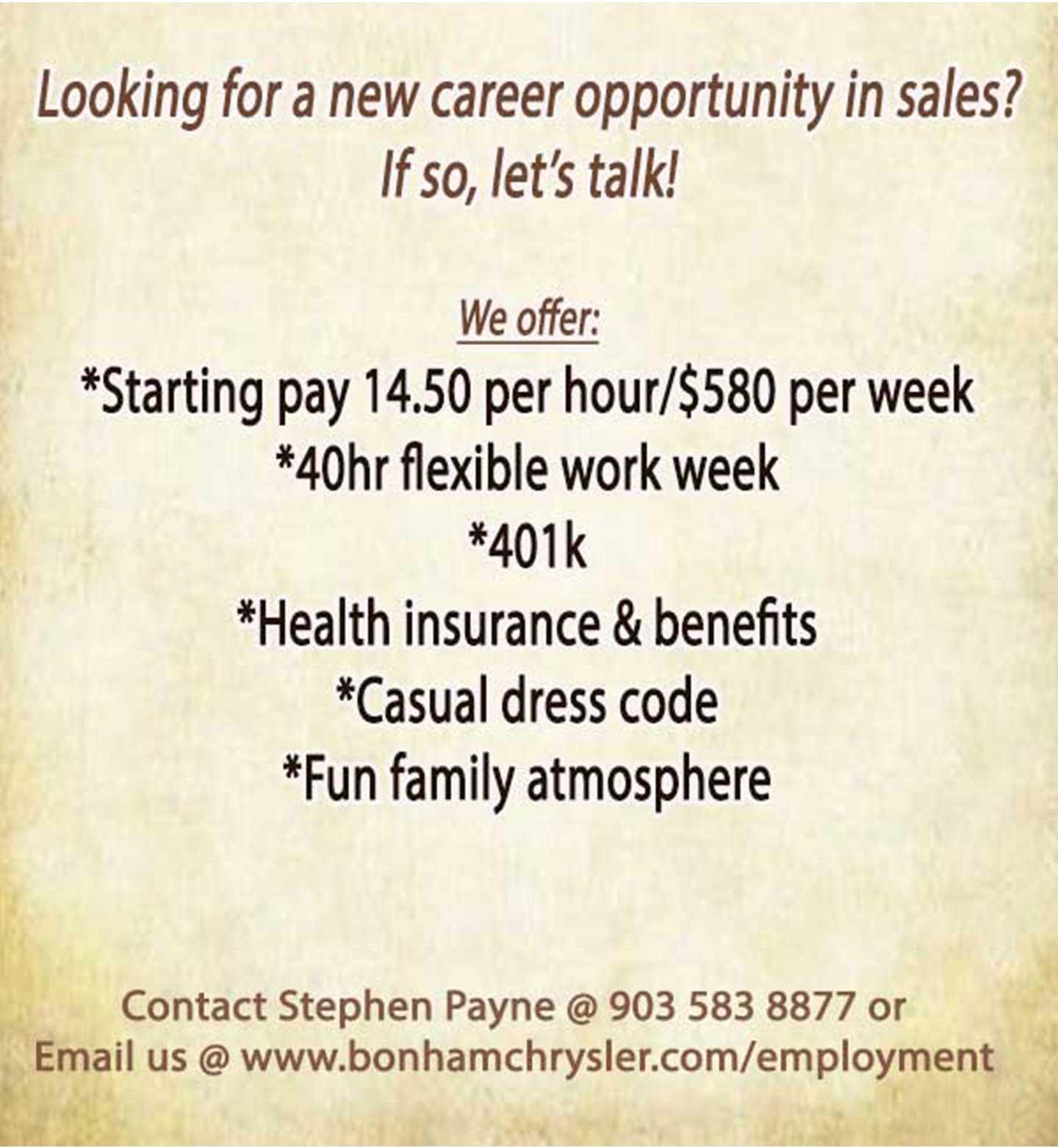 Bonham CDJR employment