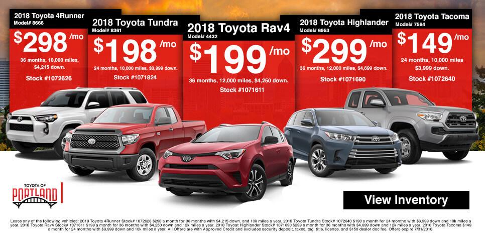 Toyota of Portland Pop Up Specials