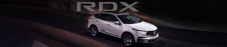 silver white SUV acura RDX road fast dark night