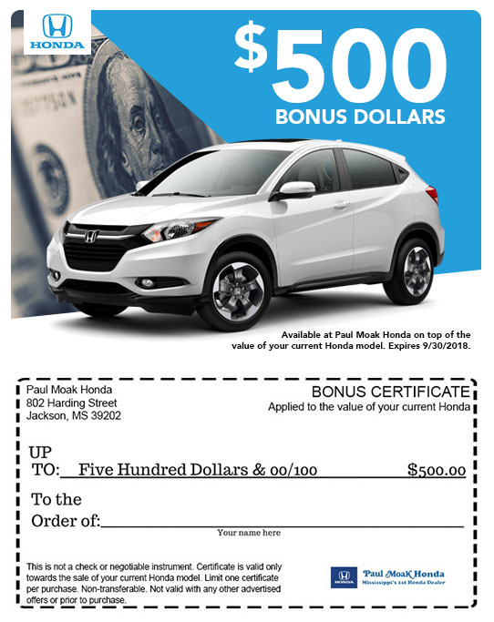 The Value Of Your Honda With Coupon Below