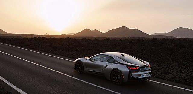 2019 BMW i8 speeding on desert road