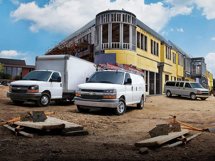Construction site with Chevrolet commercial vehicles