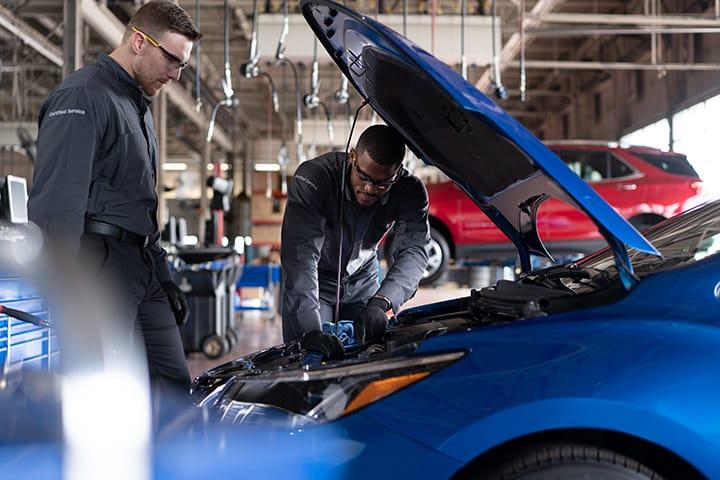 Two mechanics working on car