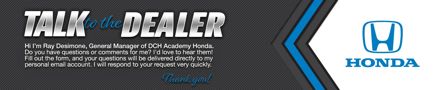 DCH Academy Honda talk to the dealer graphic.