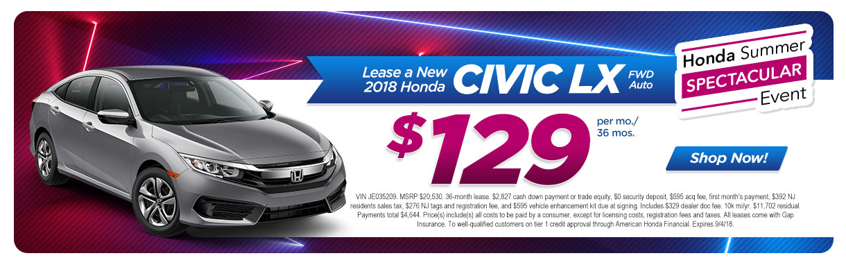 2018 Honda Civic LX Auto FWD Lease Special At Burns