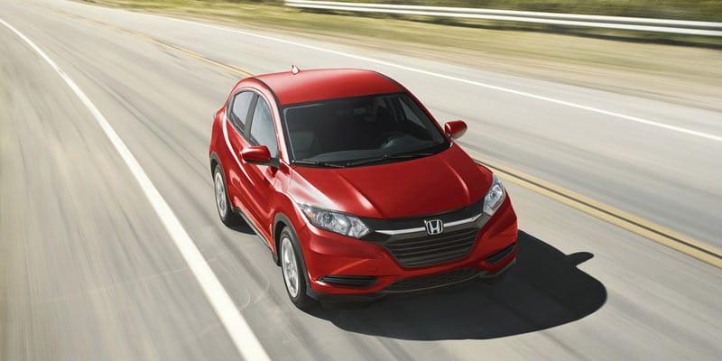 Red honda HR-V front view