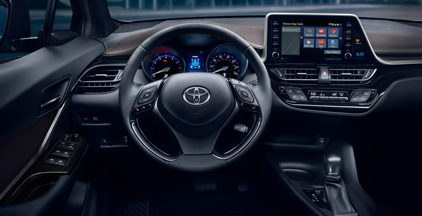 2019 Toyota C-HR Available soft-touch, leather-trimmed steering wheel and standard satin-plated shift knob