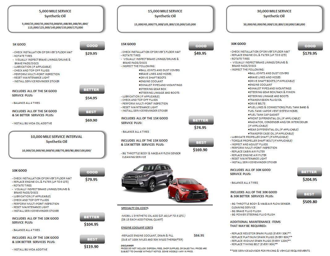 toyota service menu