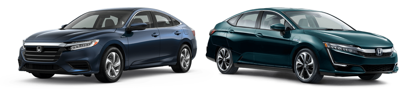 blue honda insight and blue honda clarity plug-in side by side