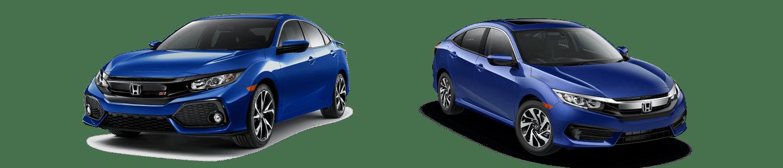 Blue honda Civic Si and blue honda Civic EX side by side