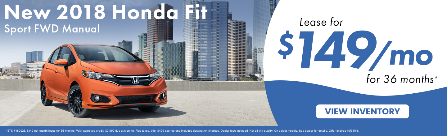 Lease A New 2018 Honda Fit Sport For Just $149 A Month In Kingsport TN