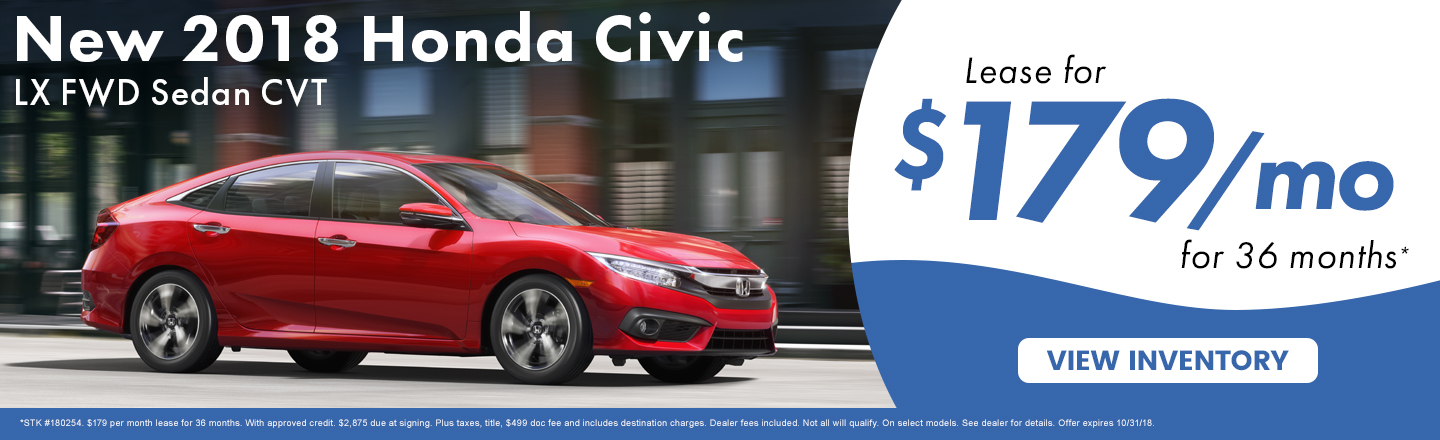 Lease A New 2018 Honda Civic LX For Just $179 A Month In Kingsport TN