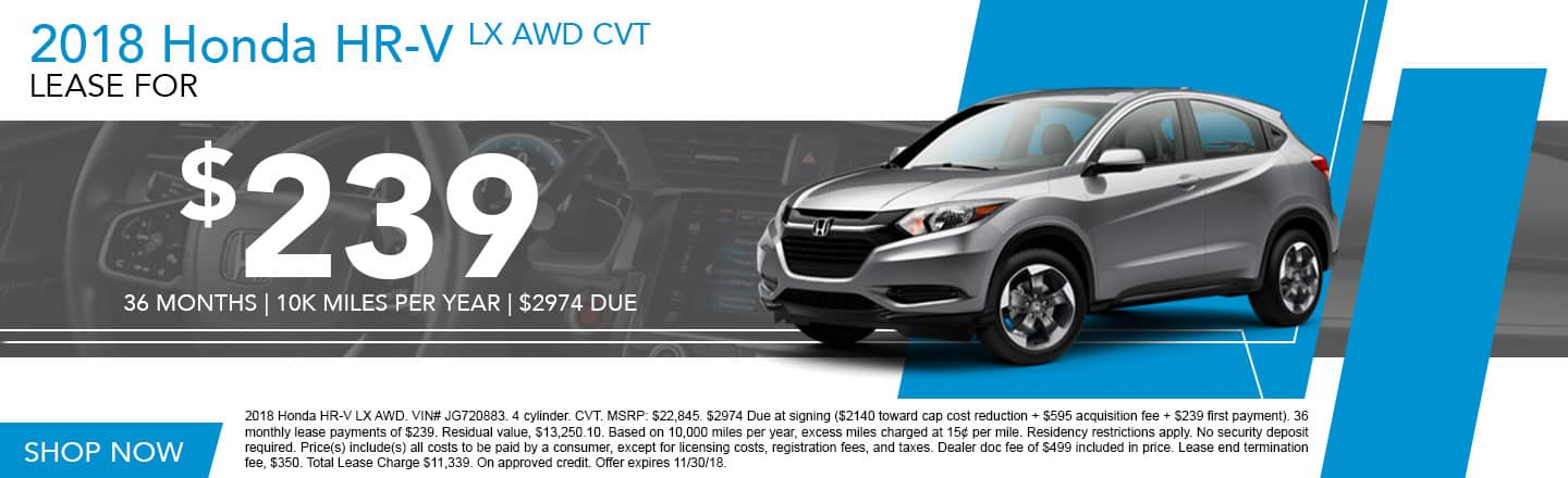 2018 Honda HR V LX AWD Lease Special At DCH Honda Of Kay Honda