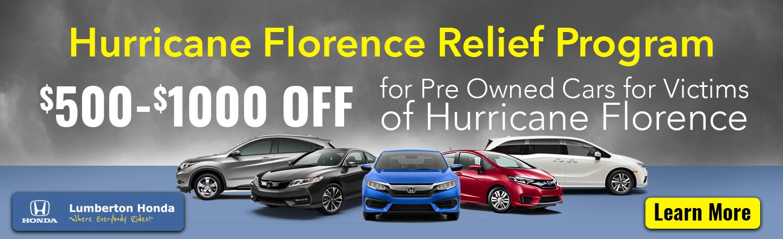 Hurricane Florence Relief Program Lumberton Honda